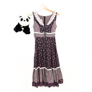 Gunne Sax vintage black, pink prairie dress
